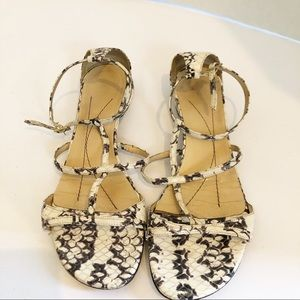 Kate spade snake embossed strappy leather sandals